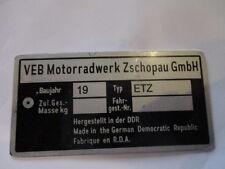 Nameplate IFA VEB DDR Zschopau MZ ETZ 125 150 250 251 S25