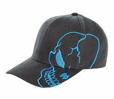 Charcoal Teal Skull Skateboard Biker Halloween Costume Gothic Goth Baseball Hat