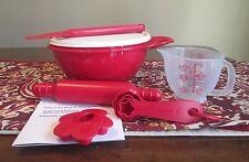 Tupperware NEW Kids Child PLAY Mini BAKING SET RED Thatsa Bowl Measuring Spoons
