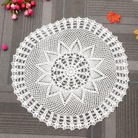 60cm White Cotton Round Hand Crochet Doily Lace Doilies Floral Mat Tablecloth