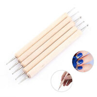 2-Way Wooden Nail Art Dotting Dot Pen Marbleizing Manicure Tool DIY CraftFashion