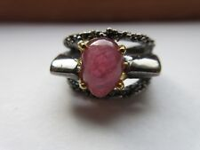 ARTISAN CRAFTED NATURAL RUBY RING 2-TONE 925 STERLING SILVER SZ/7.25