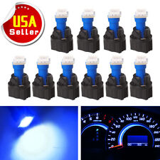 10x PC74 T5 Instrument Panel Gauge Cluster Blue Led Light Bulb+Twist Socket