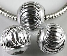 20/50Pcs 14K Rose Gold Plated Big Hole Round Spacer Beads Bracelet 10/12/14MM