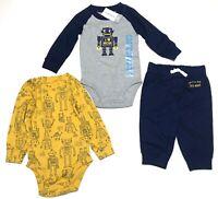 Carters Baby Boys 3 Piece set Size 9M 9 months Robot I Heart Mom Pants Bodysuits