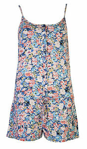 Womens All In One Playsuits Shorts Ladies Floral Flower Button Beach Vest
