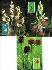 LIECHTENSTEIN: 2002 Orchids set  SG1279081 used on Maxi Cards