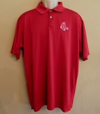 Boston Red Sox Polo Golf Shirt Red Mens Large Embroidered Sewn Socks Antigua