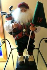"""Collectable bearded man with red plaid vest, carrying golf clubs & flag,18"""" tall"""