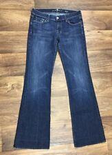 7 For All Mankind Dojo Sz 27 Jeans Dark Wash White Stitch Pocket Stretch 7FAM