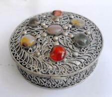 Vintage filigree Indian nickel silver ring box w agate / pebble insets 11400