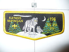 OA Ka'niss Ma'ingan Lodge 196,S2b,Wolf Flap,PB,Rnd Corn,Voyageurs Council,526,MN