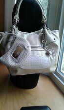 Kathy Van Zeeland Purse Large Shoulder Bag Tan & Cream Faux Leather W/Mini Bag