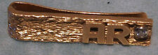 """GOLD 14KT &  DIAMOND MONEY CLIP OR TIE CLIP """"INITIALS """"A R"""" 8.1GR  HAMMER CHASED"""
