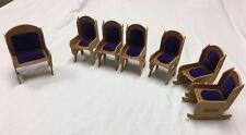 Lot Of 7Vintage Miniature Dollhouse Furniture Wood Purple Velvet Chairs Rocking=