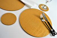 Set 8 ARTISAN GOLD Bonded Leather ROUND PLACEMATS & 8 COASTERS 16-Piece UK MADE