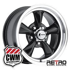 """15 inch 15x7"""" Retro Black Wheels Rims 5x4.75"""" +0mm 4.00"""" backspace Chevy 53-81"""