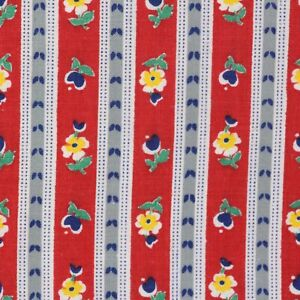 """2/3 Yard Vintage Fabric 35"""" Wide x 27"""" Red Floral Gray Stripe"""