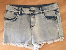 Ladies FACTORIE Denim Shorts Size 14 Crochet Hem High Rise Faded Blue Acid Wash