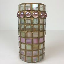 Mosaic Candle Holder Hand Crafted Pink Cream Iridescent Tiles Glimmers Gold