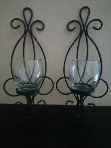 Pair of Black Metal Wall Sconce Candle Holders with Glass Inserts