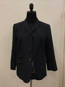 NWT Piazza Sempione Navy Blue Rayon Wool Blend Blazer Jacket Size 46 US Size 10