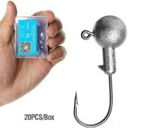 Fishing Lead Jig Head Stainless Steel Hook Eye 20 pcs Box Soft Silicone Lure New