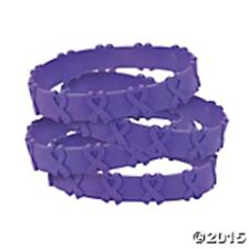 Cancer Awareness Purple Ribbon POP OUT Bracelets  Set of 24 Relay for Life