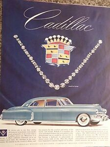 1949 Cadillac Automobile and Cartier Diamond Necklace Advertisement