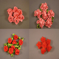 10 Pieces of  Ribbon Flower, Organza Ribbon Flower  15 mm in Diameter or 15x27mm