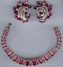 WEISS VINTAGE BRIGHT PINK RHINESTONE BRACELET & EARRINGS SET
