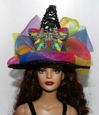 Rainbow Crystal Butterfly Pin Salem Witch Hat #19 Doll Bottle Ornament