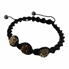 Gold & Brown 6mm Crystal Balls on Black Macrame Cord Shamballa Inspired Bracelet