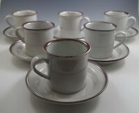 "MOD DANSK BROWN MIST SET OF 6 CUPS AND SAUCERS, 3"" NIELS REFSGAARD"