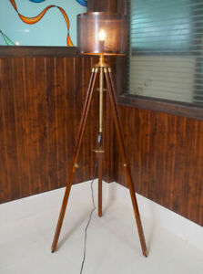 Floor Lamp Adjustable Wooden Tripod Home Decor Lamp Without Shade