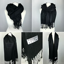 BLACK Pashmina Scarf | Ladies Large Shawl 100% Wool Plain Tassels | UK NEXT DAY