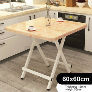Wood Folding Table Portable Metal Home Indoor/Outdoor Picnic Party Dining Table