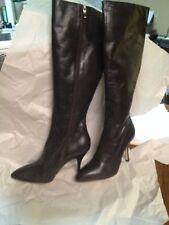 Via Spiga  Womens 9.5 Dark Brown Leather Stiletto Knee High Boots