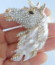 Animal Brooch Pin Pendant Ee06535C1 Art Style Clear Rhinestone Crystal Horse