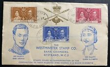 1937 Gambia King George VI Coronation FDC First Day Cover KGVI Westminster