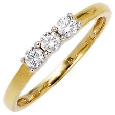 Damen Ring 333 Gold 8ct Bicolor 3 Zirkonia Goldring 39639-52