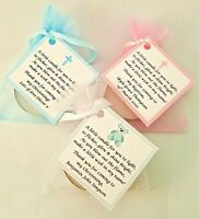 10 X CHRISTENING / BAPTISM FAVOURS vanilla candle tealights - personalised name