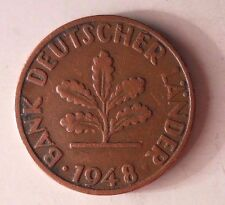 1948 D GERMANY PFENNIG - RARE First Coin - Excellent - GERMAN BIN #4-1