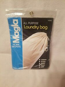 Vintage NIP Large 19x30 100% COTTON LAUNDRY BAG By Magla. Made In USA. NOS