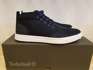 NEW TIMBERLAND MEN'S DAVIS SQUARE LEATHER AND FABRIC CHUKKA NAVY SHOES FOR MEN