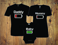 Battery Family Matching T-Shirts Mommy daddy ,baby