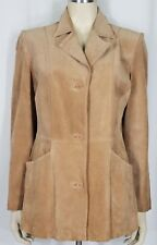 Dialogue tan 100% suede leather button front lined jacket coat ladies Medium