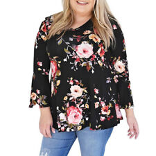 Women Floral Printing Long Flare Sleeve Tops T-shirt Blouse Autumn Casual Shirts Black 5xl