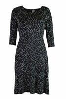 Womens Ladies Black Polka Dot 3/4 Sleeve Tie Belt Fit and Flare Jersey Dress