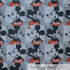 New listing BonEful Fabric Cotton Quilt White B&W Red Black Mickey Mouse Block Face 99 Scrap